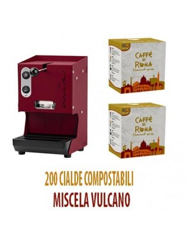 MACCHINA CAFFE AROMA MIA ROSSO PORPORA + 200 Cialde Caffe di Roma VULCANO