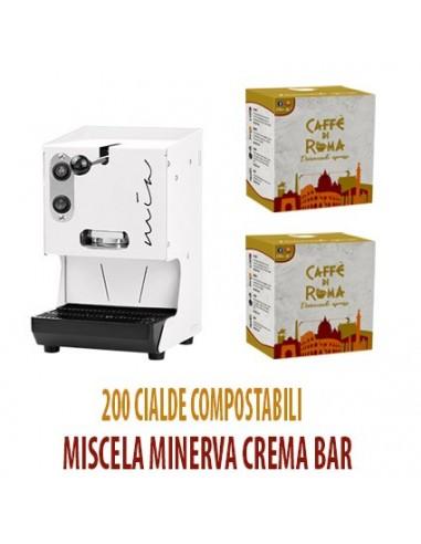 MACCHINA CAFFE AROMA MIA BIANCA + 200 Cialde Caffe di Roma MINERVA CREMA BAR
