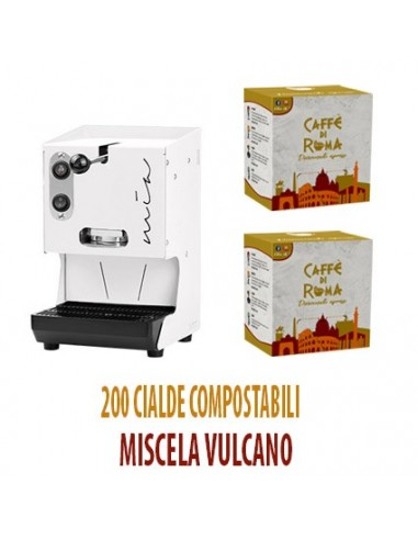MACCHINA CAFFE AROMA MIA BIANCA + 200 Cialde Caffe di Roma VULCANO
