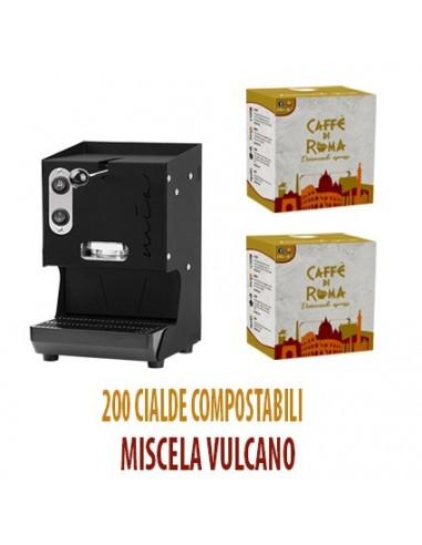 MACCHINA CAFFE AROMA MIA NERA + 200 Cialde Caffe di Roma VULCANO