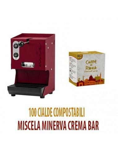 MACCHINA CAFFE AROMA MIA ROSSO PORPORA + 100 Cialde Caffe di Roma MINERVA CREMA BAR