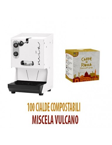 MACCHINA CAFFE AROMA MIA BIANCA + 100 Cialde Caffe di Roma VULCANO