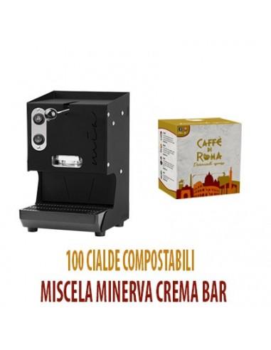 MACCHINA CAFFE AROMA MIA NERA + 100 Cialde Caffe di Roma MINERVA Crema Bar
