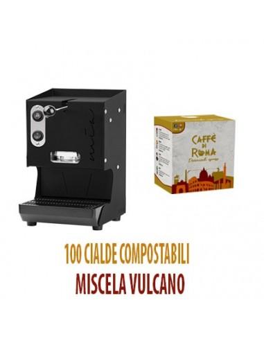 MACCHINA CAFFE AROMA MIA NERA + 100 Cialde Caffe di Roma VULCANO